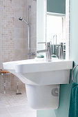 Sink in contemporary disabled home bathroom