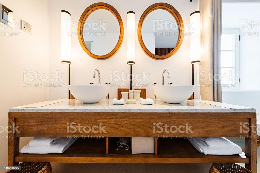 Sink in modern bathroom interior stock photo