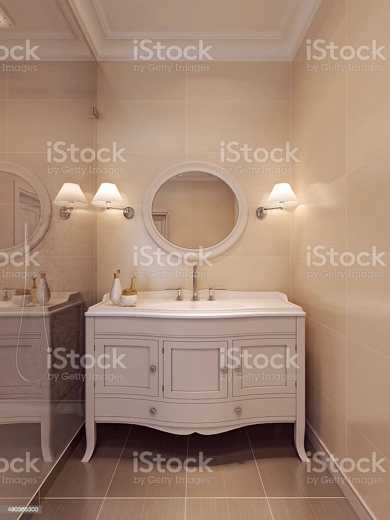 Sink Konsoles in a classic style in white. stock photo