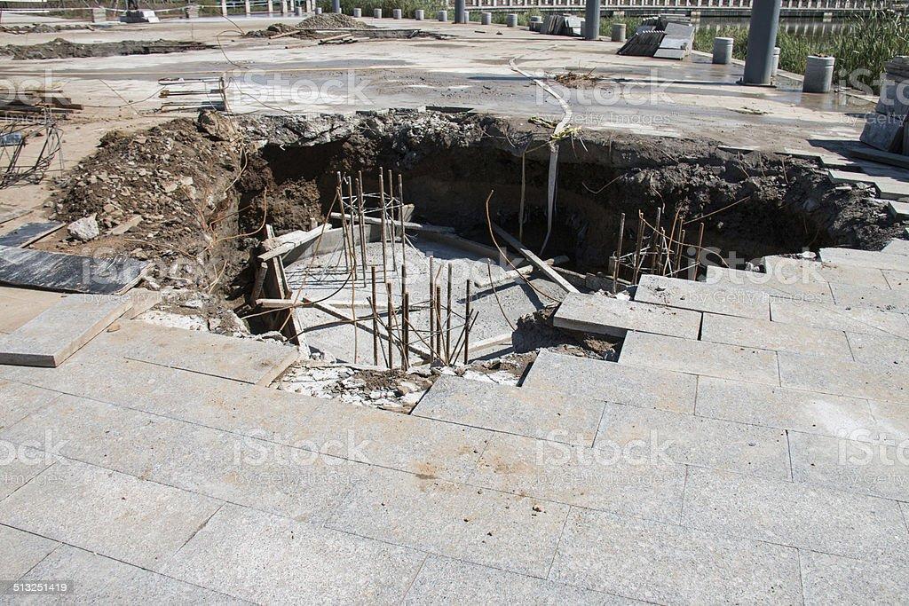 Sinkhole in Sidewalk stock photo