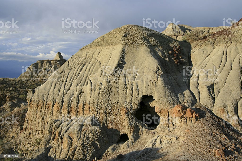 Sinkhole in the Badlands stock photo