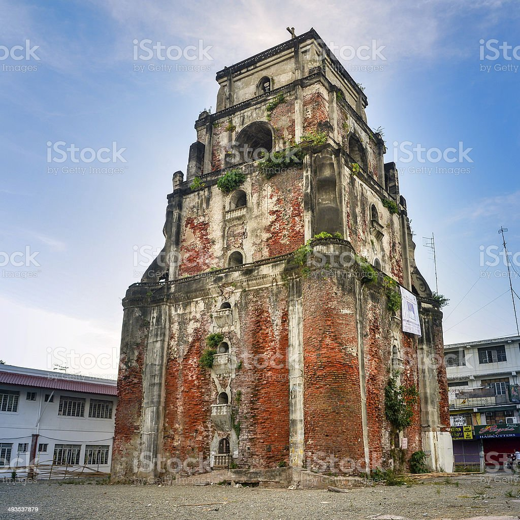 Sinking Bell Tower - Laoag City, Philippines stock photo