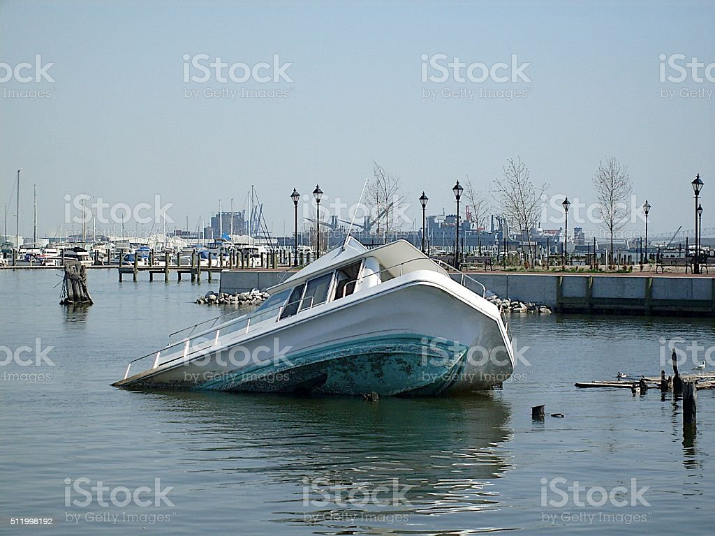 Sinking Boat Baltimore Harbor stock photo