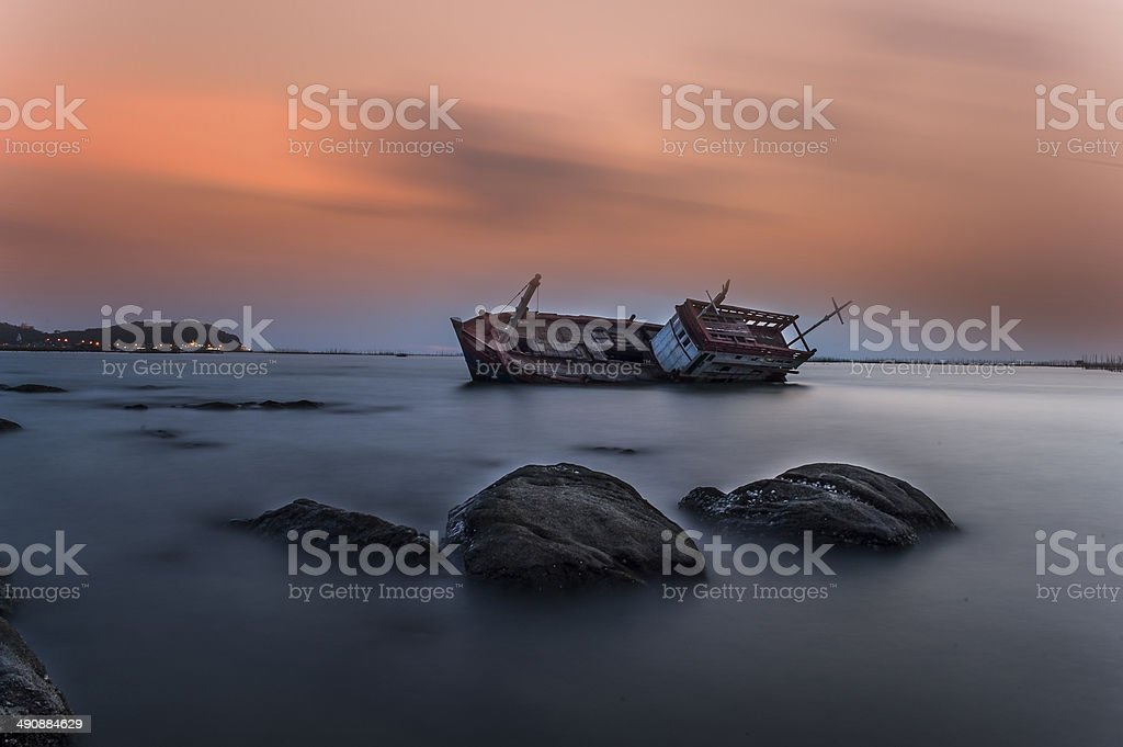 Sinking Fishing Boat stock photo