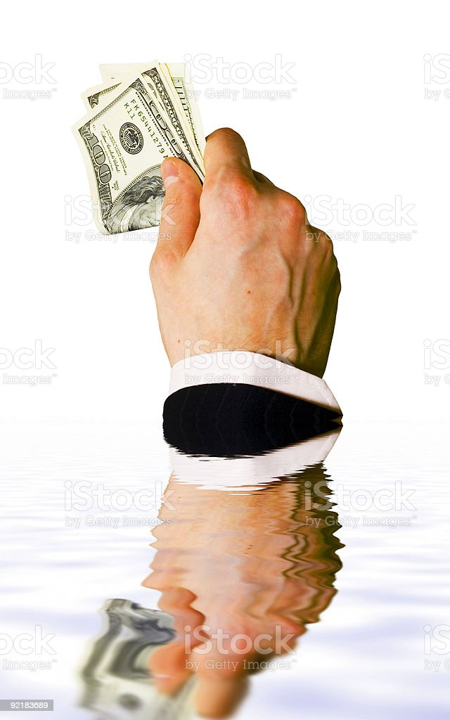 Sinking hand with money isolated on white background royalty-free stock photo