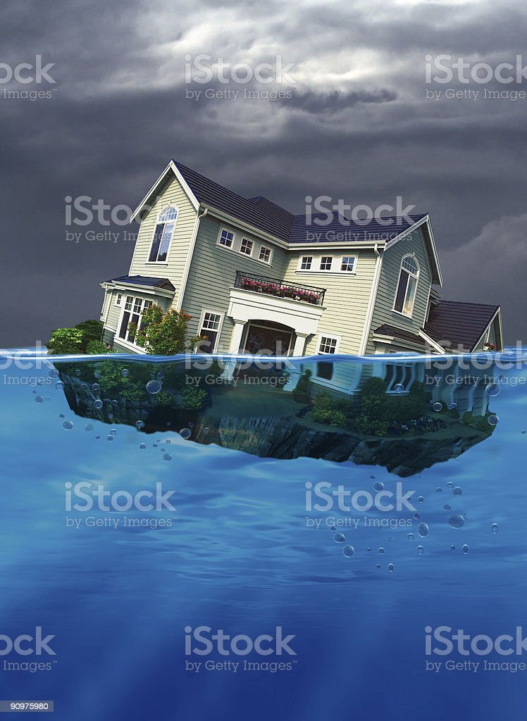 Sinking Home stock photo