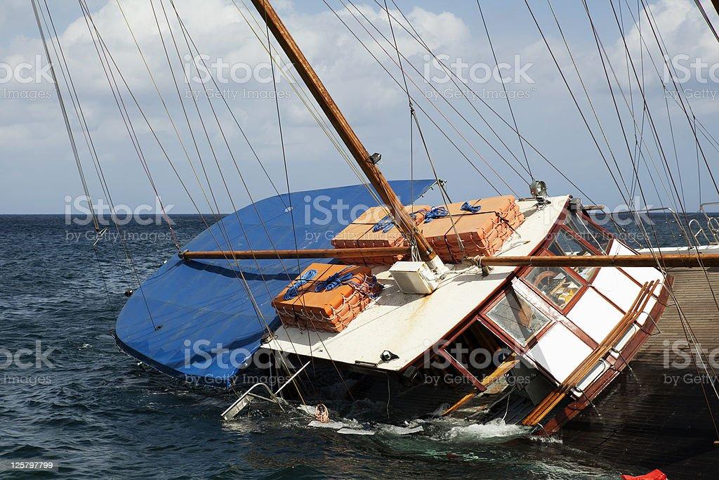Sinking Schooner stock photo