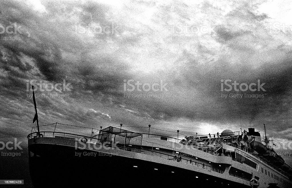 Sinking ship in B&W stock photo