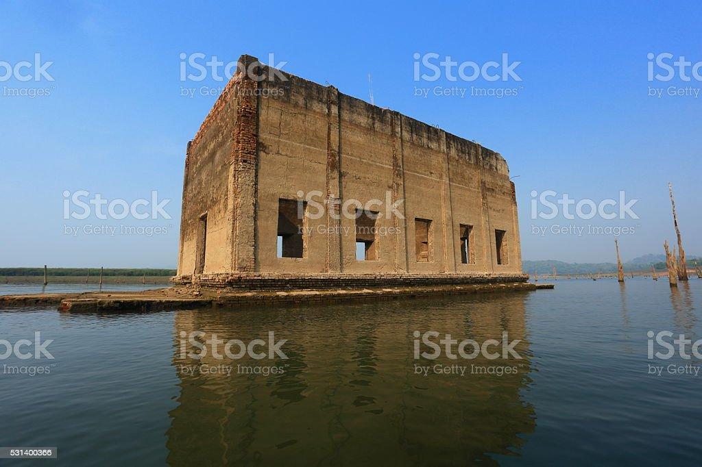Sinking temple at Sangkhla Buri District, Kanchanaburi province, Thailand. stock photo