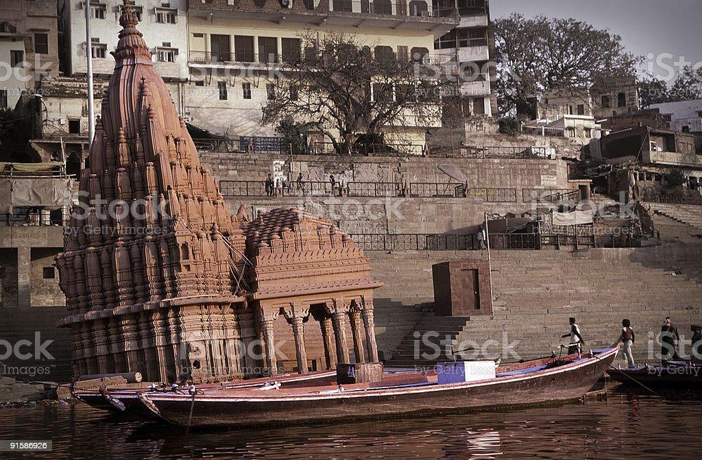 Sinking temple at Varanasi, India royalty-free stock photo