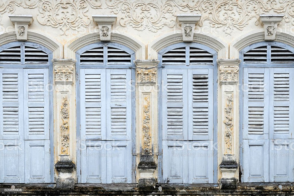 Sino Portuguese Architecture in Phuket old town. stock photo