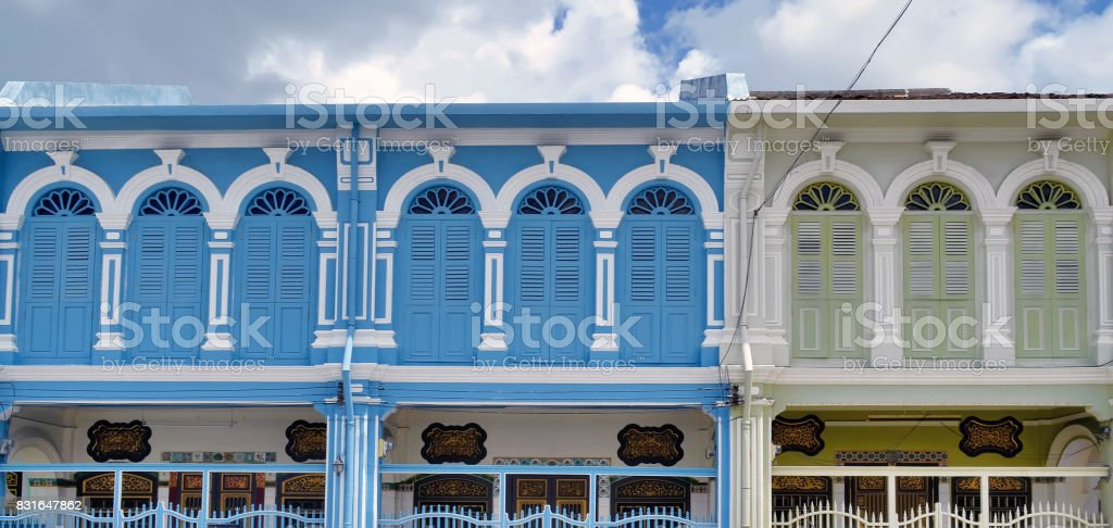Sino-portuguese facades in Phuket Town stock photo