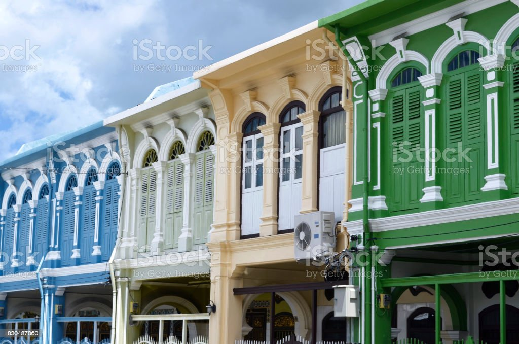 Sino-portuguese style buildings in Phuket Town stock photo