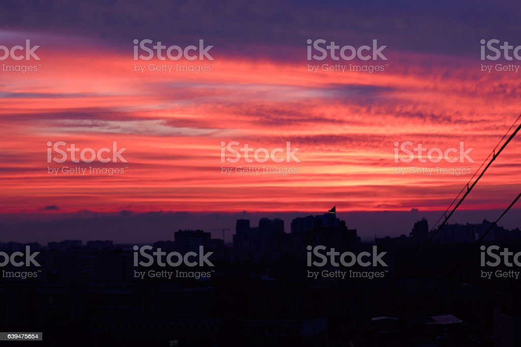 Sinset view in city stock photo