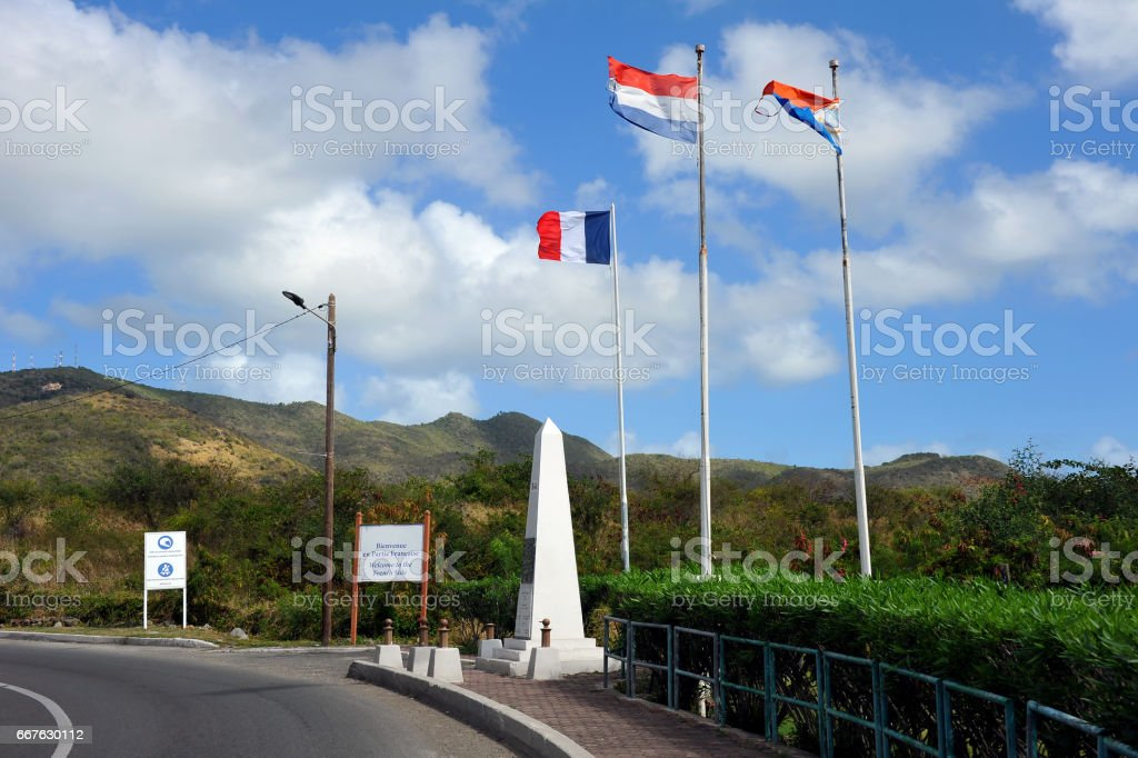 Sint Maarten - St. Martin border stock photo