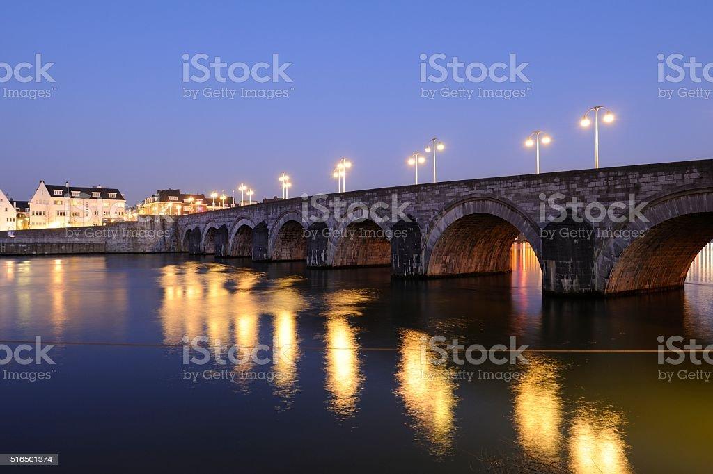 Sint Servaasbrug (St. Servatius Bridge) across  Meuse River in Maastricht stock photo