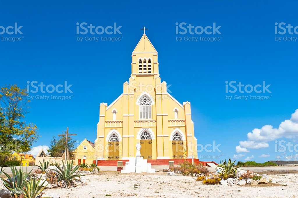 Sint Willibrordus Church on Curacao stock photo
