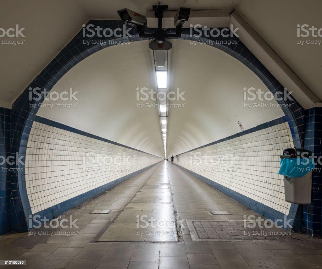 Sint-Anna Pedestrian Tunnel under the river Schelde in Antwerp stock photo