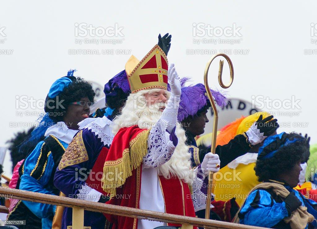 Sinterklaas and Zwarte Pieten on the Steamboat stock photo