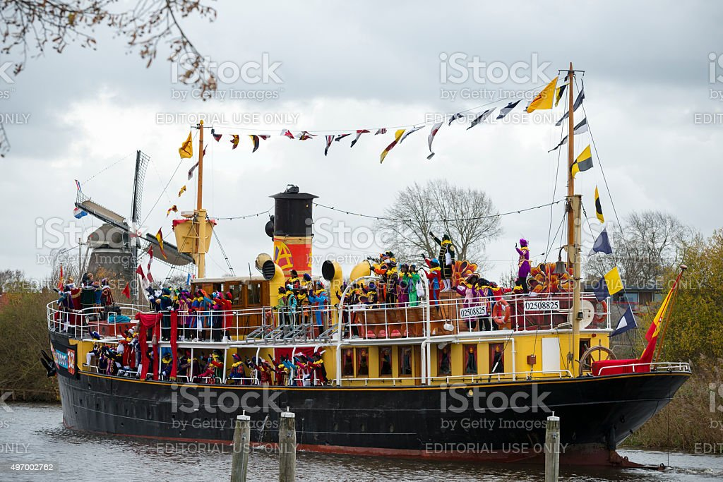 Sinterklaas arriving in Meppel with his steamboat stock photo