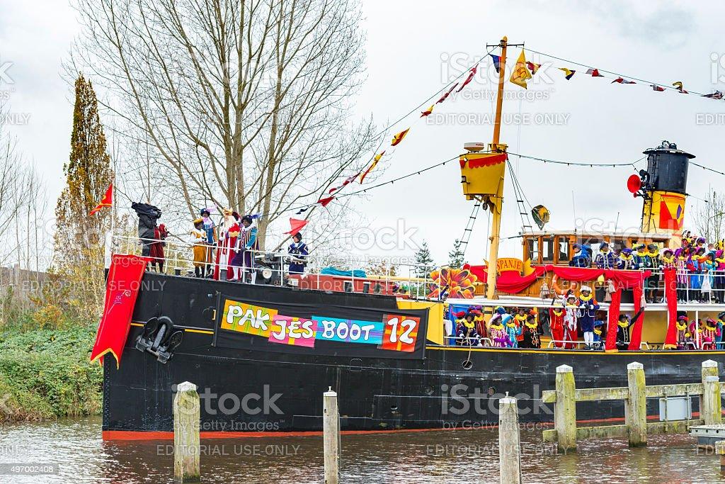Sinterklaas arriving in The Netherlands on his steamboat stock photo