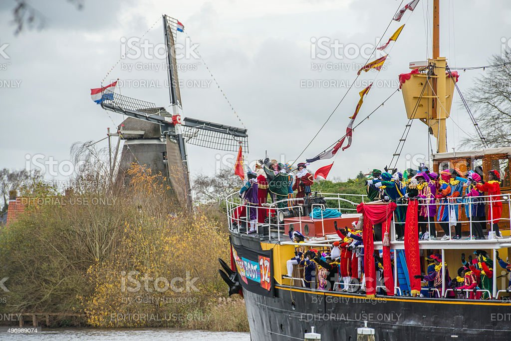 Sinterklaas arriving in The Netherlands on the steamboat stock photo