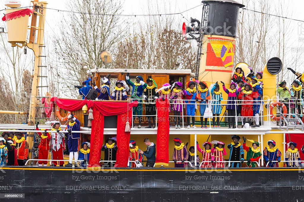 Sinterklaas arriving in The Netherlands stock photo
