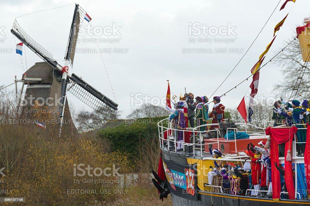 Sinterklaas arriving in The Netherlands stock photo