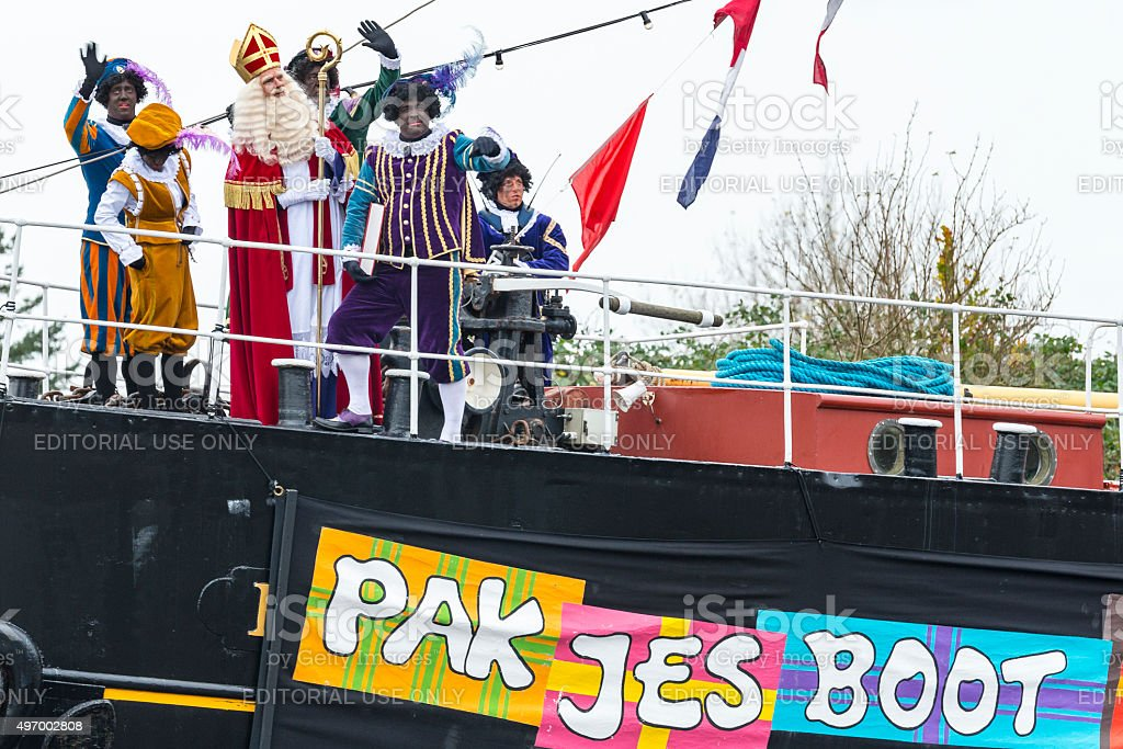 Sinterklaas arriving in The Netherlands with his steamboat stock photo