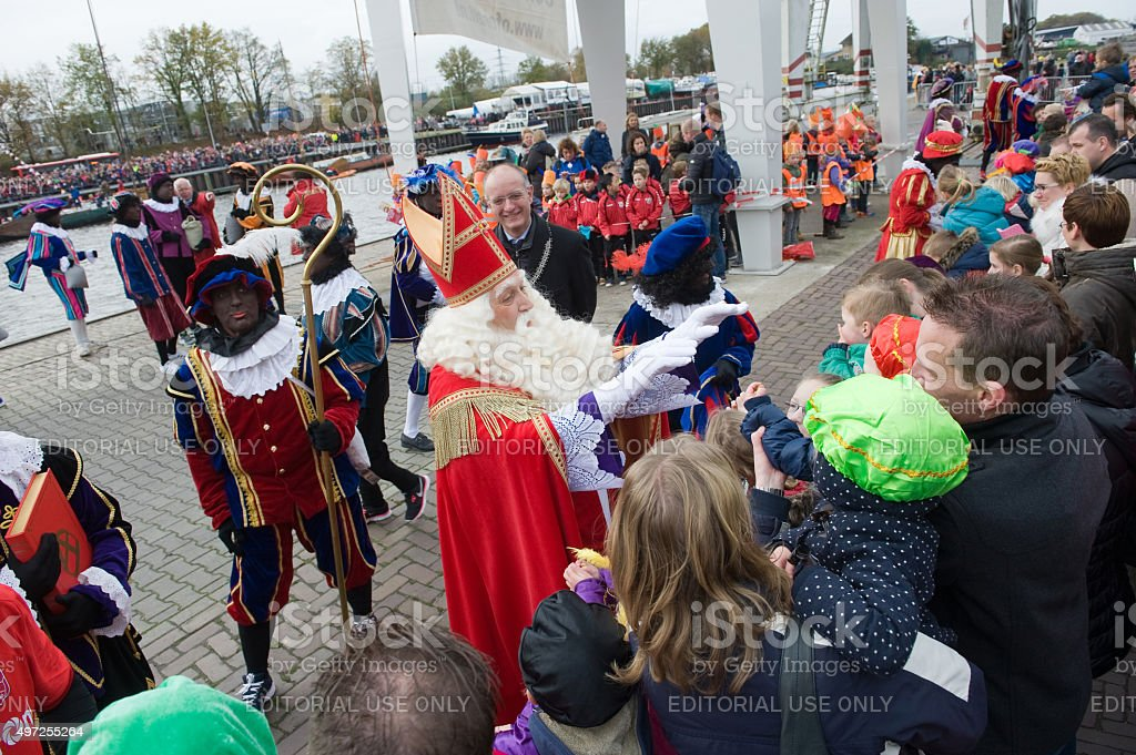 Sinterklaas greeting the children stock photo