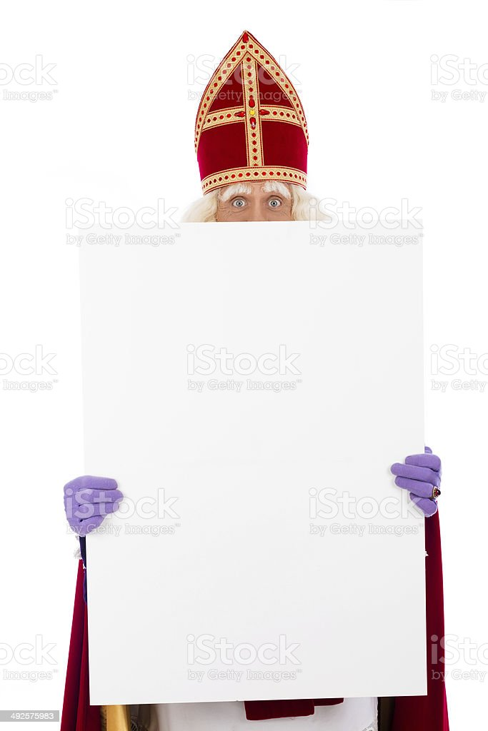 Sinterklaas holding placard stock photo