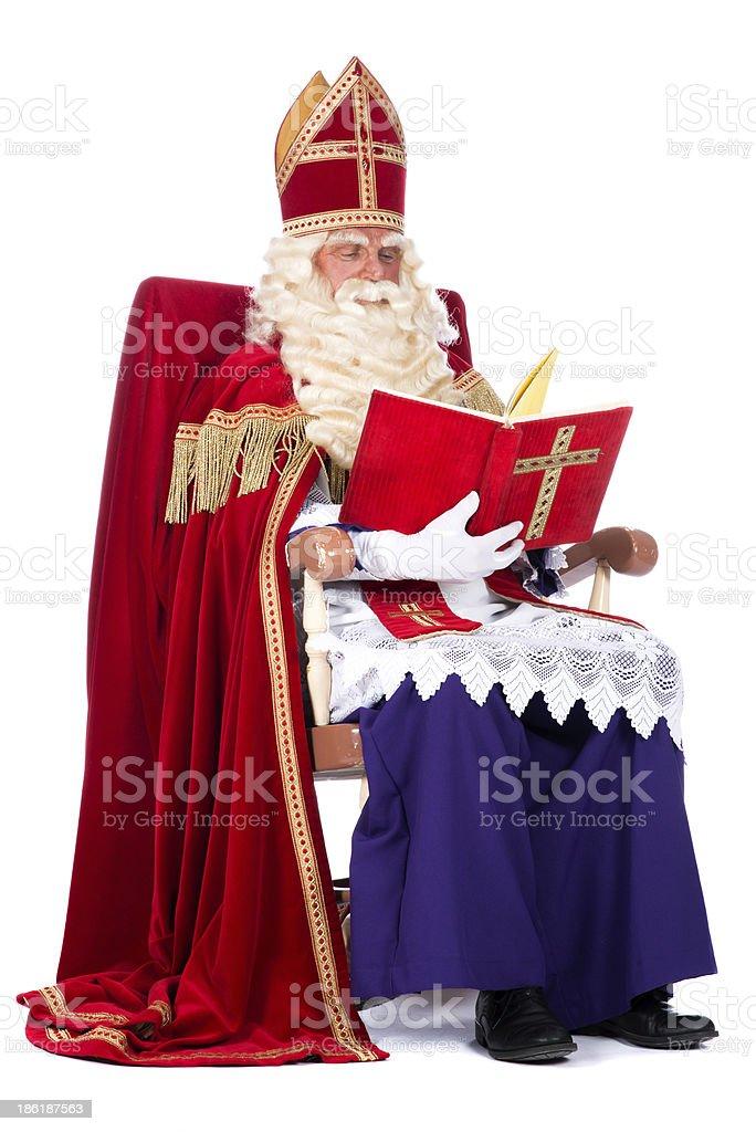 Sinterklaas on his chair stock photo