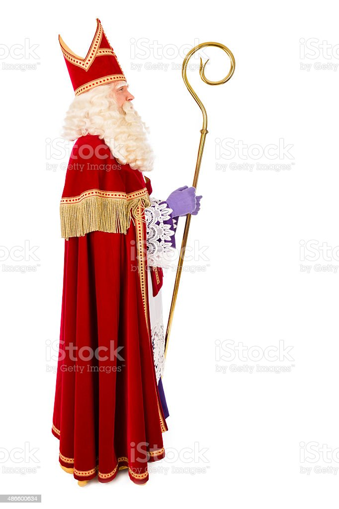 Sinterklaas on white background. full length stock photo