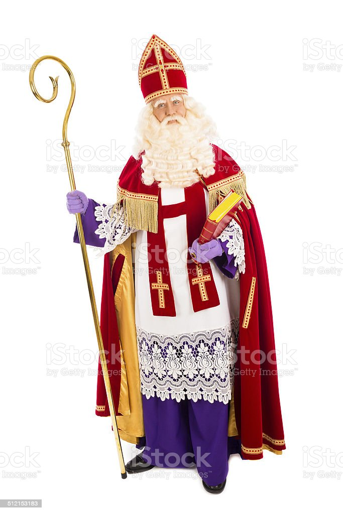 Sinterklaas on white background stock photo