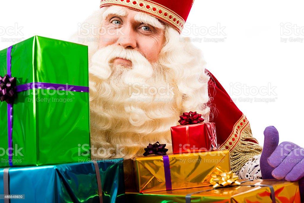 Sinterklaas showing  gifts stock photo