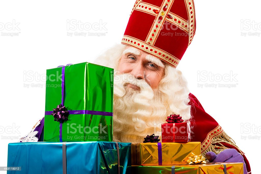 Sinterklaas showing  gifts stock photo