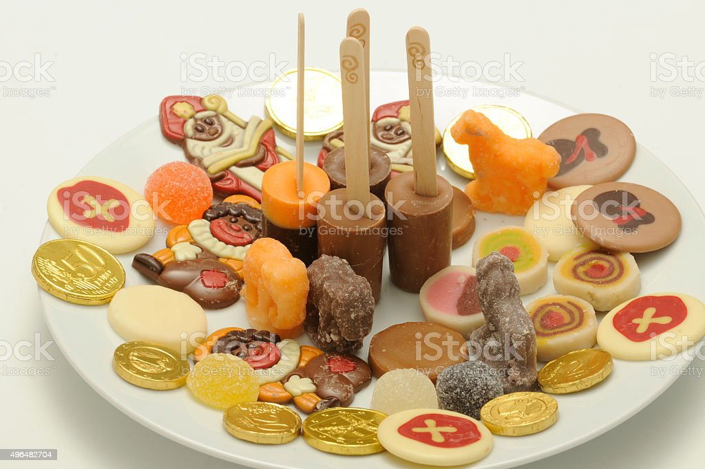 Sinterklaas sweets on plate stock photo