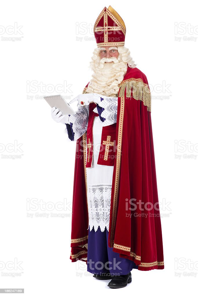 Sinterklaas with a tablet stock photo