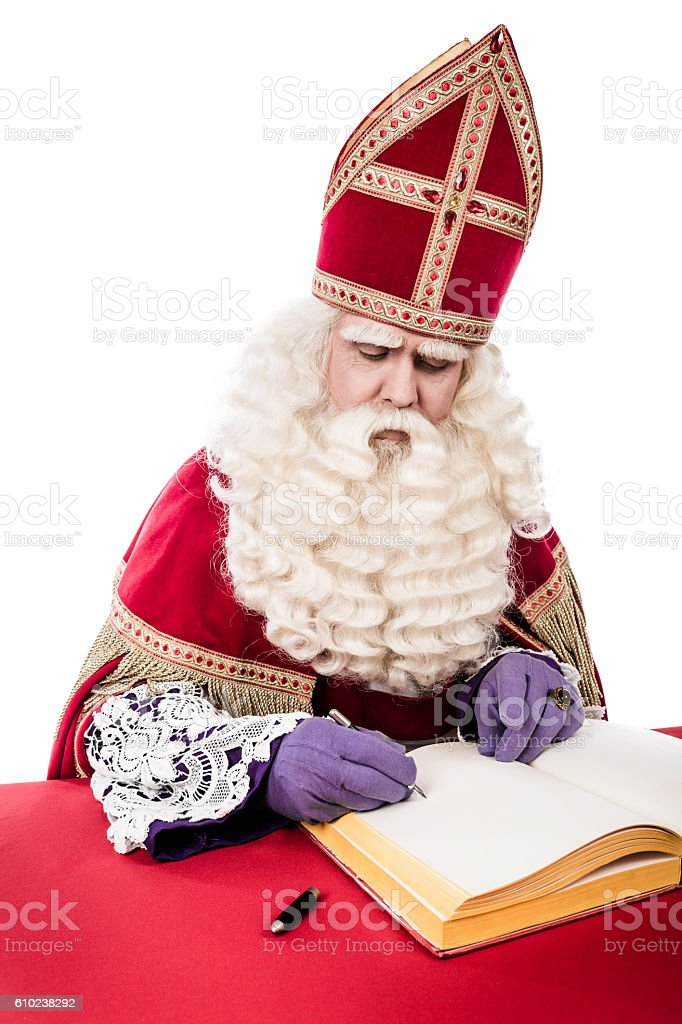 Sinterklaas with book stock photo