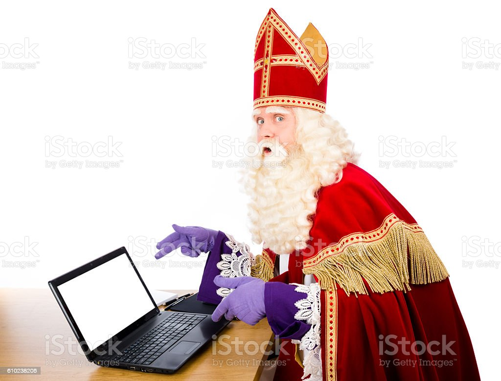 Sinterklaas with notebook stock photo