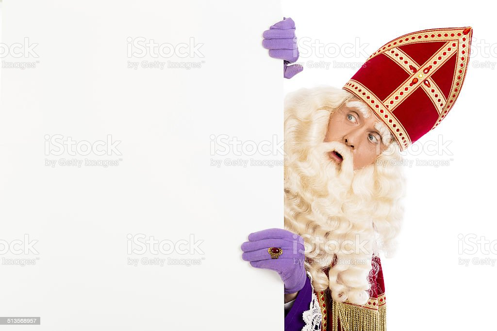 Sinterklaas with placard stock photo