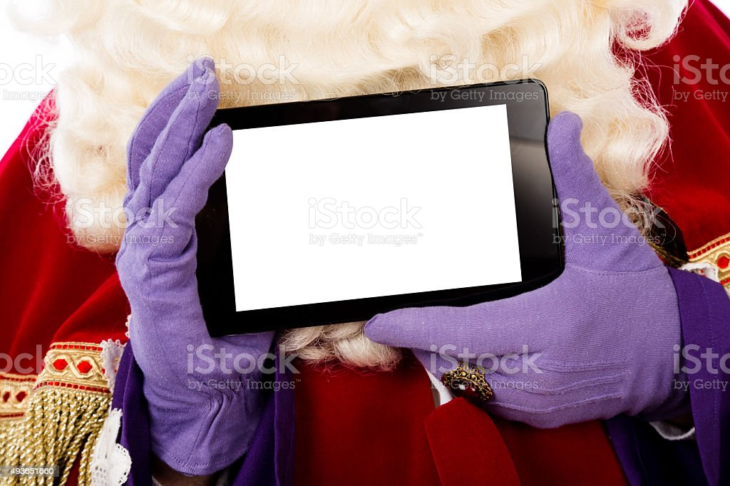 Sinterklaas with tablet stock photo