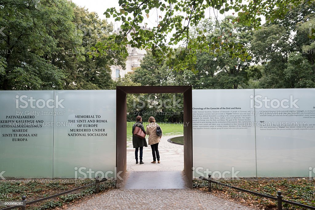 Sinti and Roma victims memorial in Berlin Germany stock photo