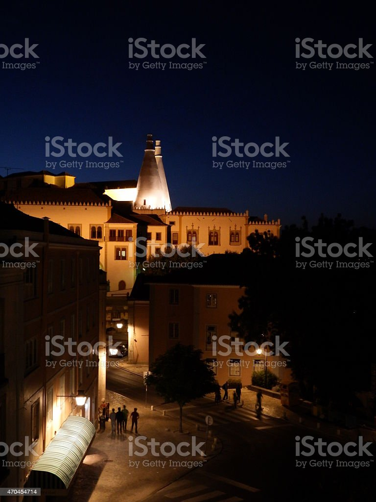 Sintra National Palace, view with Sintra village, night view stock photo