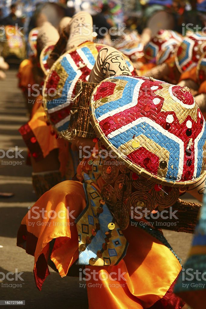 Sinulog dancers at a festival in Cebu, Philippines stock photo