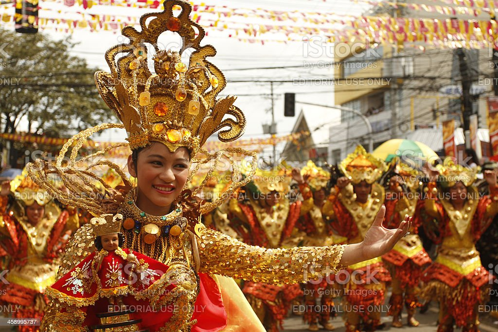 Sinulog Dancers in the Streets of Cebu stock photo