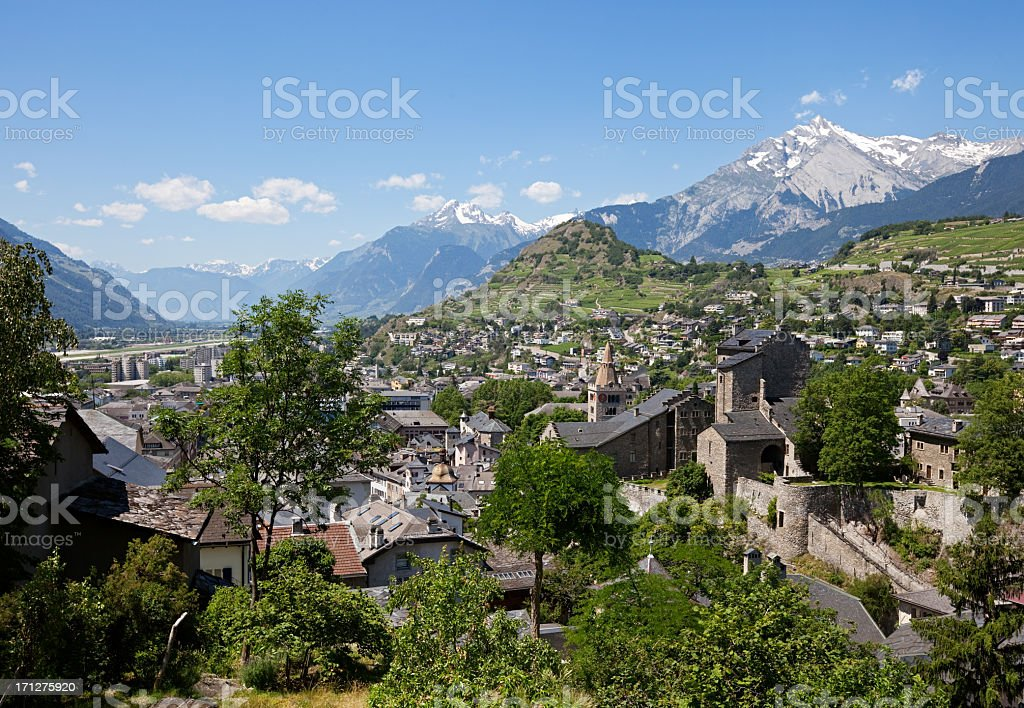 Sion town and Castle, Switzerland stock photo