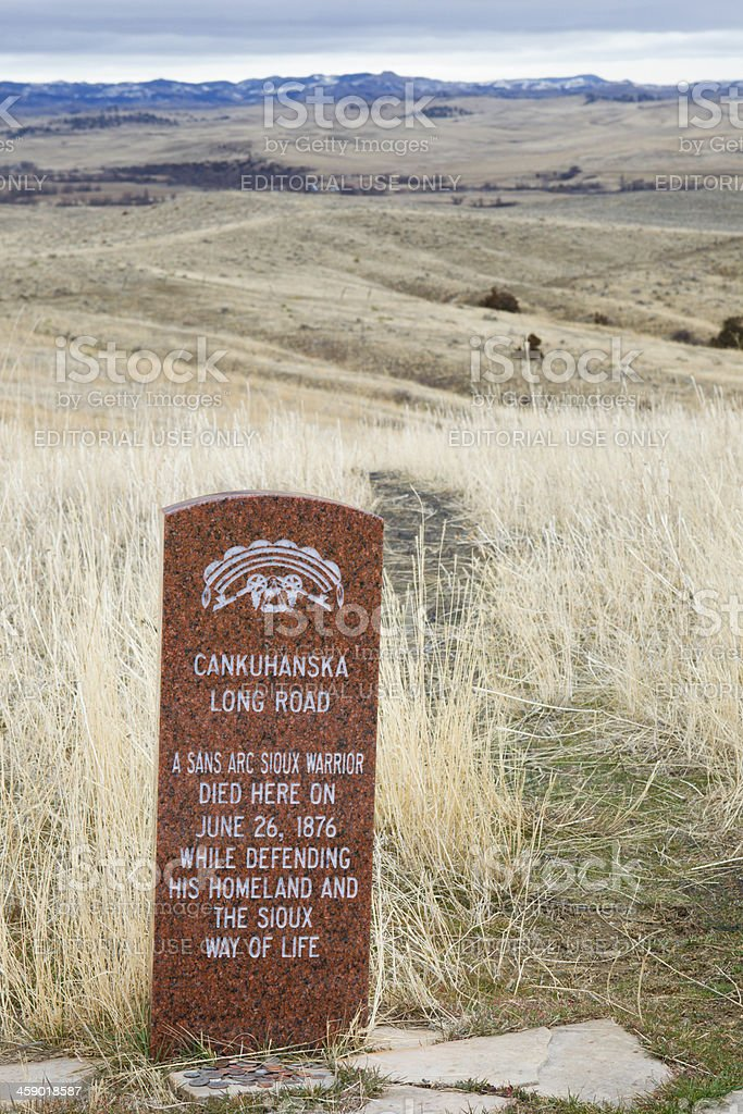 Sioux Warrior Death Markers at Little Bighorn Battlefield Monument stock photo