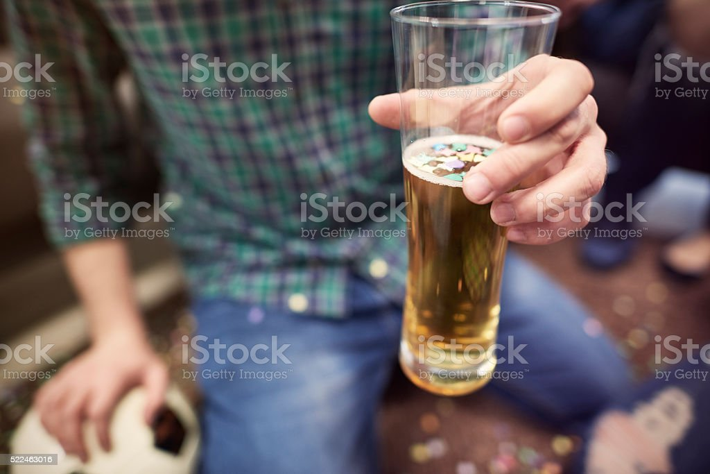 Sip of beer for the success stock photo