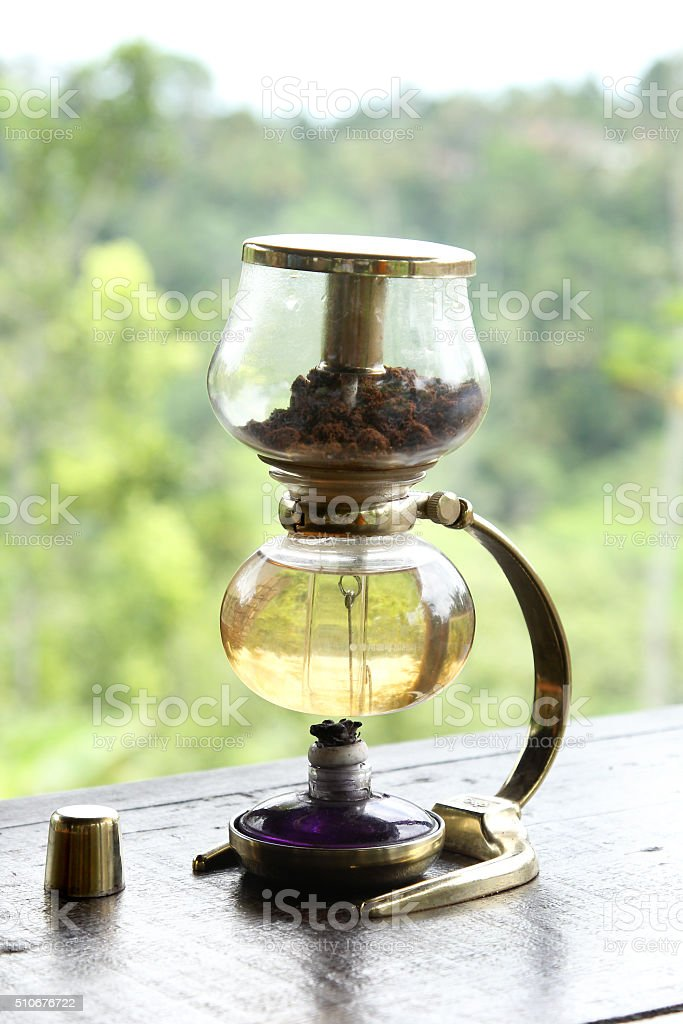siphon coffee maker,close up stock photo